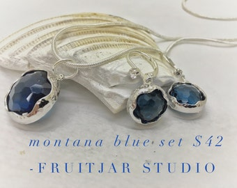 Necklace Earring Set - Sterling Silver, Montana Blue Faceted Glass Set in Sterling Silver Necklace & Matching Earrings, Gift Set, Bridesmaid