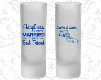 Happiness is Being Married to your Best Friend, Frosted Shooter Glass, Vintage Wedding, Vintage Car (510)