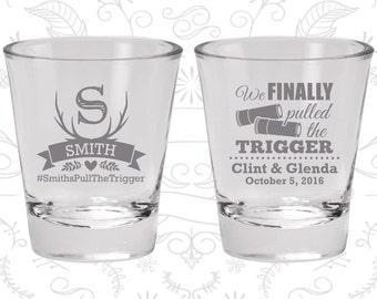 We finally pulled the trigger, Imprinted Shot Glass, Shotgun Wedding Shot Glasses, Antler Shot Glasses, Wedding Shot Glasses (564)