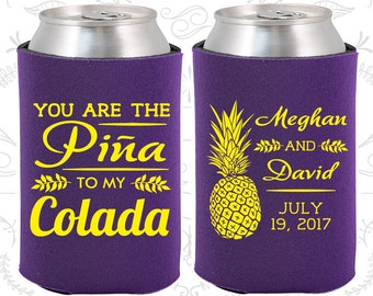 You are the Pina to My Colada, Personalized Wedding, Tropical Wedding Favors, Pina Colada Favors, Pineapple Wedding Favors (464)