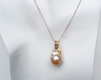 Special occasion 26x16mm Peach Baroque Pearl set Bridal freshwater Pearls pendant and earrings set