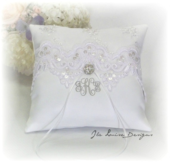 ring bearer pillow white ring bearer pillow monogrammed ring
