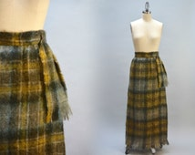 Mohair Maxi Skirt - Vintage 60s Sixties Long Plaid Mohair Wool Fringed Skirt with Sash Earth Tone Plaid Yellow Green Blue Grey Tartan Skirt