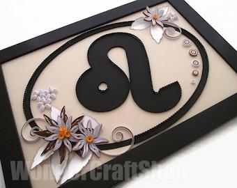 Leo star sign, zodiac leo, gift for Leos, zodiac symbol, astrology art, zodiac wall art, birthday leo, Leo, quilled Leo sign, leo art