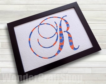 nursery wall art, letter r, custom letter, baby room decor, personalized baby gift, paper art, quilled alphabet, a to z, coral and blue