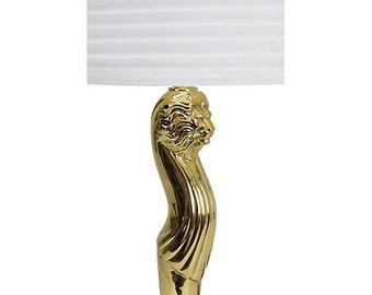 Art Nouveau Brass Lion Head Table Lamp