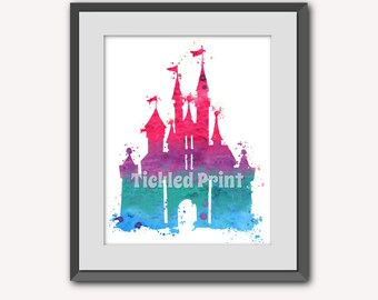 Disney Cinderella's Castle Personalised Print Watercolor Pink/Blue Print  8x10 10x12 12x16 16x20 A3 A2 A1 Wall Art Poster Decor