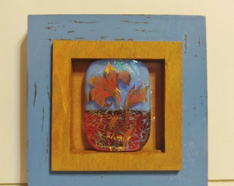 """Fused glass """"picture"""" in frame"""
