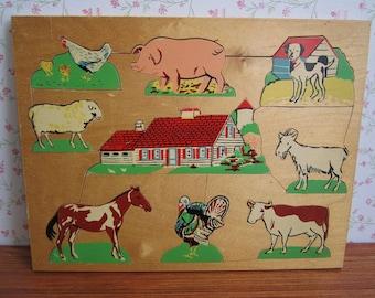 Vintage Wooden Simplex Jigsaw Puzzle Craft Supply Farm Animals Chicken Pig Dog Goat Cow Turkey Horse Sheep Girl Boy Children Child Toy 1960s