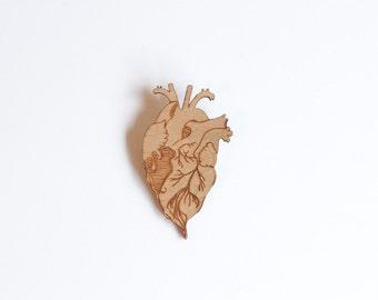 Sinking Heart - Wooden Brooch