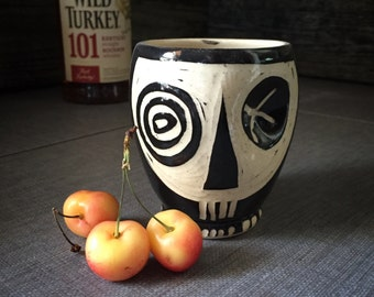 Dimpled Skull Whiskey Cup -Black - Modern steampunk tumbler