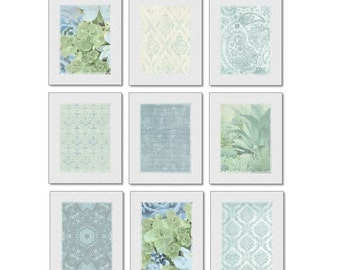 Blue Green Art Set of 9 Prints