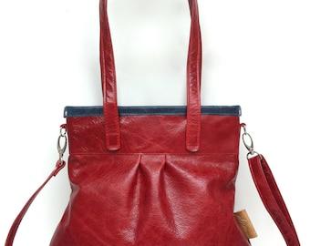 """Leather handbag , Leather Shoulder Bag """" SHELLY BAG """" Granat"""