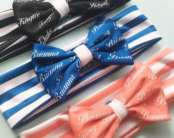 Baby Headband - Baby Personalized gift - Custom Headband - Personalized Bow Headband – Black Headband – Blue Headband - Stripes Headbands