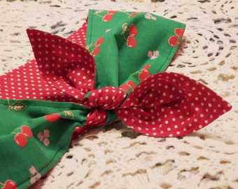 Rockabilly Headscarf  Red Cherries