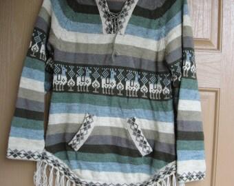 Vintage 80s 90s  alpaca sweater womens hoodie hood hooded  medium 1980s 1990s