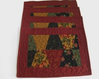 Quilted Placemats, Red Quilted Placemats
