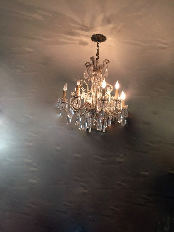 Gorgeous Vintage Crystal & Iron Candelabra Chandelier