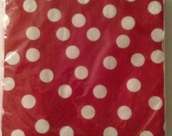20CT Red & white polka dot napkins. Minnie Mouse table decor. Nautical tableware