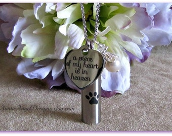 Paw Prints in Heaven Cremation Urn Necklace, Loss of Pet Memorial Urn, Pet Ashes Jewelry, Pet Urn Jewelry, Dog Ashes Holder, Paw Print Urn