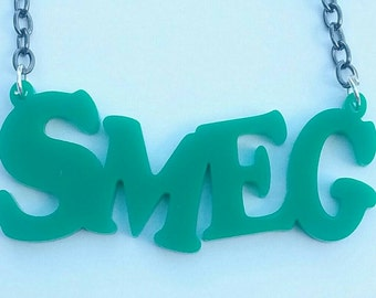 SMEG Necklace, Inspired By Red Dwarf, Gloss Green Colour, Geek, Geeky, Sci-fi