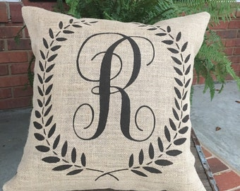 Personalized Painted Burlap Pillow, 18x18 square pillow