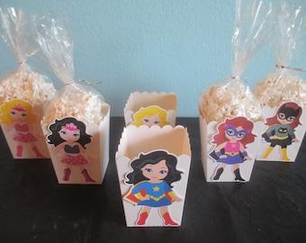 Girl Superhero popcorn boxes(20)Favor Boxes,Superhero party,Superhero Birthday,Girl superhero party,Girl Superhero Birthday