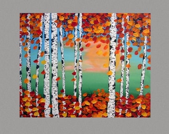 Birch Forest painting SALE Abstract Painting READY to HANG art by Susie Tiborcz