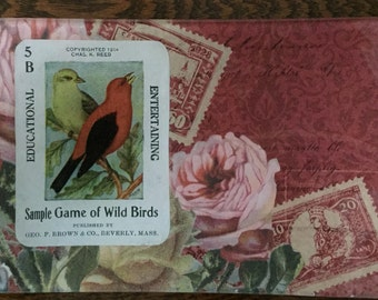 "Decoupage Glass Tray ""Wild Bird Card"""