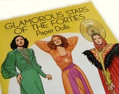 Glamorous Stars of the Forties - Tom Tierney, Dover celebrity paper dolls, Hedy Lemar, Rita Hayworth, Dorothy Lamour, Old Hollywood fashion