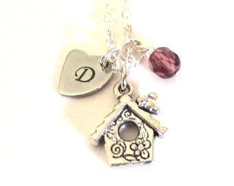 Mother's Day gift - Birthstone charm necklace - Birdhouse necklace - Initial necklace - Gift for mum - February birthstone - Mum gift - UK