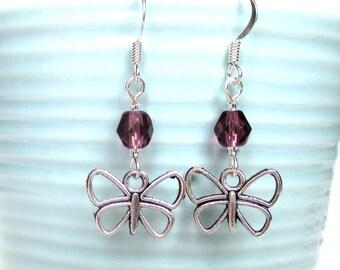 Butterfly earrings - Custom birthstone earrings - Butterfly gift - Birthday gift idea - Butterfly jewellery - February birthstone - UK