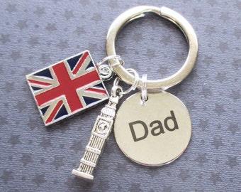 Father's Day keyring - London keyring - Dad keyring - Big Ben keyring - Gift for Dad - Union Jack keyring - London gift for Dad - Etsy UK