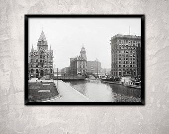 Old Syracuse print, New York, year 1904.Erie Canal at Salina Street, Syracuse, NY.  Historical Syracuse photo.Syracuse poster.