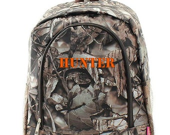 Personalized Camo Backpack Monogrammed Bookbag Brown Natural Camouflage Large Canvas Kids Tote School Bag Embroidered Monogram Name