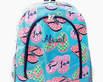 Personalized Flip Flops Backpack Monogrammed Bookbag Pink Coral Aqua Blue Girl Large Canvas Kids Tote School Bag Embroidered Monogram Name