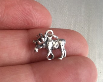 Moose sterling silver charm pendant