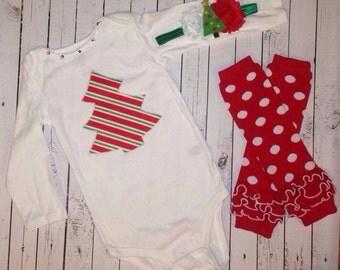 Christmas tree onesie, polka dot legwarmers, and headband