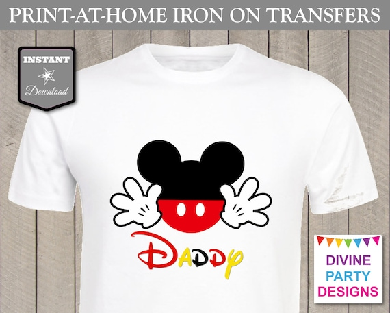 Instant download print at home mouse daddy printable iron for Instant t shirt printing