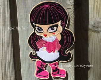 Large Monster high Draculaura iron on patch, Monster high Draculaura embroidered iron on appliques, monster high patch, monster high iron on