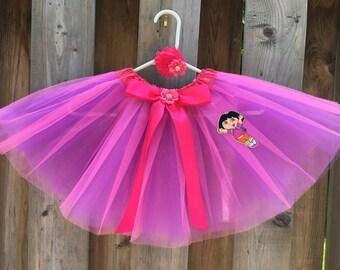 Dora tutu Dora birthday outfit Dora costume Dora patch dora hair clip hot pink tutu with purple tutu Dora outfit