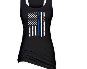 Distressed Thin Blue Line Flag Black Ladies  Racerback Tank SKU: POL164
