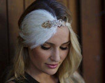 Gold 1920s headband, gold great gatsby headpiece, Ivory feather fascinator, beaded dress headband, elasticized headband flapper dress