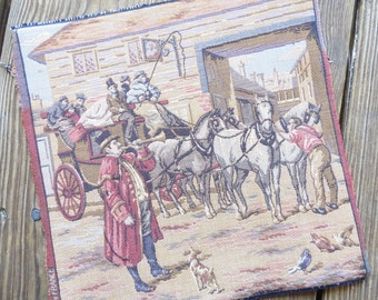 Vintage French Needlepoint Tapestry Victorian Busy Street Scene, Horse and Carriage, Travel  unmounted 10 x 9 3/4 Made in France
