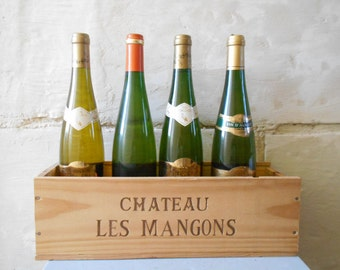 Vintage wine crate, French Château crate , Château Les Mangons, French kitchen storage and decor.