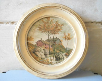 Rare French antique landscape paint on wood in a round frame. Cottage chic decor, autumn scenery.
