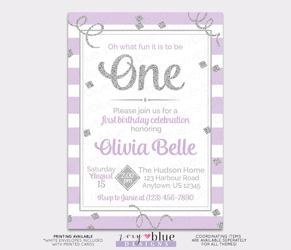 Lilac Silver Girl First Birthday Invitation Grey Glitter St - 1st birthday invitations girl purple