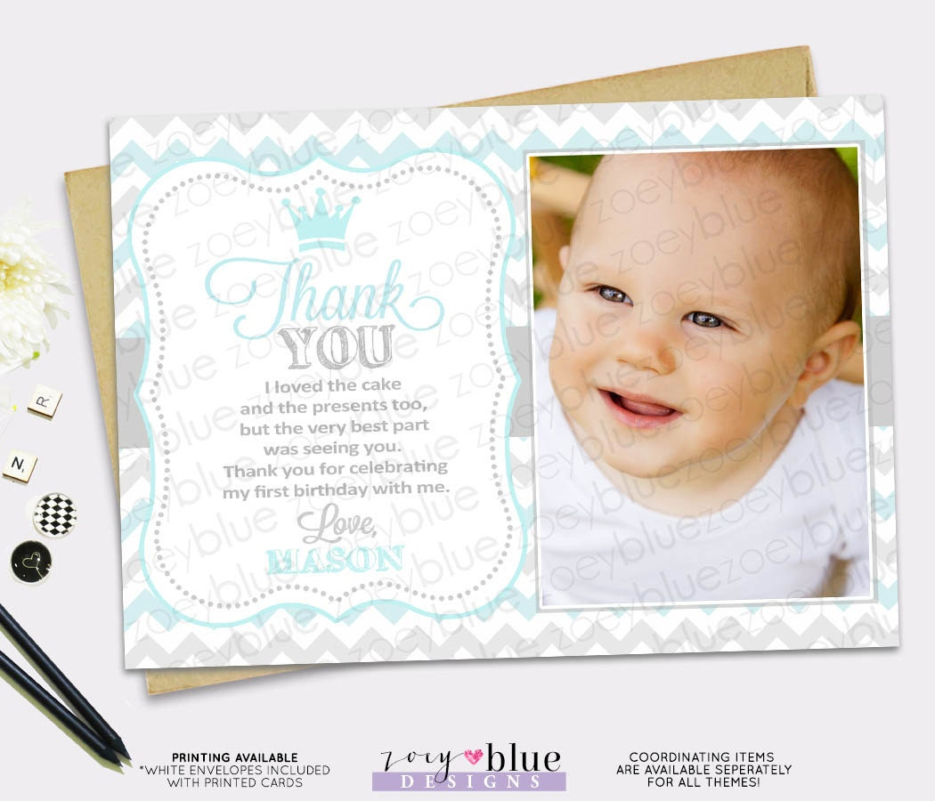 Prince Birthday Thank You Card 1st Boy First Birthday Light – First Birthday Thank You Cards