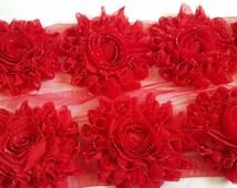 "GLITTER shabby flower trim,3"" RED shabby  rose trim ,headband supplies, wholesale shabby flower  by the yard , embelishment flower"