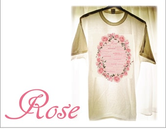 Rose Iron-on Transfer Printable Art Decal Typography Aromatherapy Sign Victorian Pink Rose Infographic Wreath T Shirt Design Bridesmaid Gift